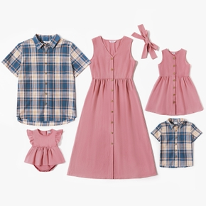 Mosaic 100% Cotton Family Matching Pink and Plaid Sets