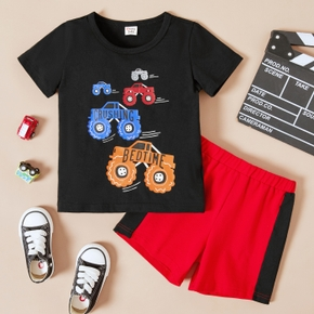 2-piece Toddler Boy Letter Vehicle Print Round-collar T-shirt and Elasticized Shorts Set