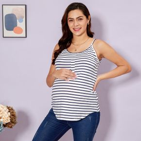 Maternity Round collar Stripes Plain Royal Blue Tank Tops