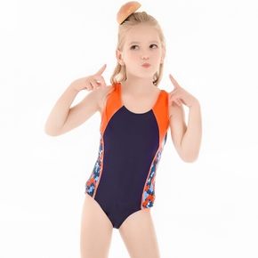 One-piece Colorful Geometric Splice Swimsuit for Girls
