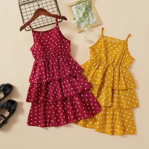 Pretty Kid Girl Polka dot Ruffled Singlet Dress