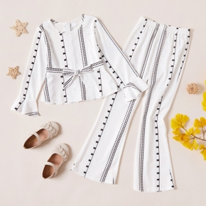 2-piece Kid Girl Striped Geometric Print Bell sleeves Blouse with Belt and Flared Pants Set