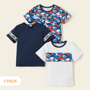 3-piece Camouflage Letter Allover Print Short-sleeve Tees