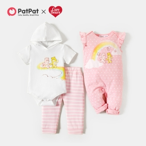 Care Bears Baby Girl Cotton Polka Dots and Rainbow Romper and Stripe Pants