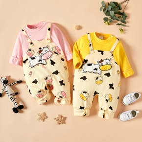 Baby Short-sleeve Casual Animal&Cow Jumpsuit