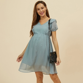 Nursing casual Print V-neck Short-sleeve Nursing Dress