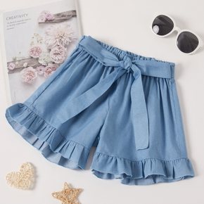 Beautiful Kid Girl Bowknot Flounced Denim Shorts