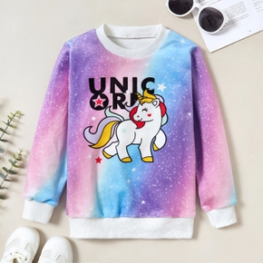 Fashionable Unicorn Letter Print Gradient Sweatshirt