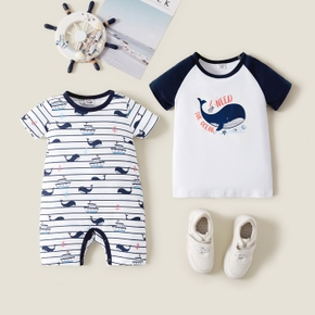 Mosaic Cartoon Whale Pattern Short Sleeve Siblings Matching Sets