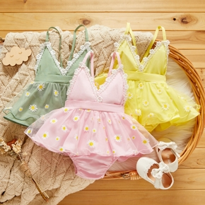100% Cotton Floral Print Lace Sleeveless Baby Romper