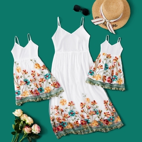 Floral Print White Midi Sling Dresses for Mommy and Me
