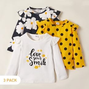 3-pack Toddler Girl Floral and Polka Dots Tee Set