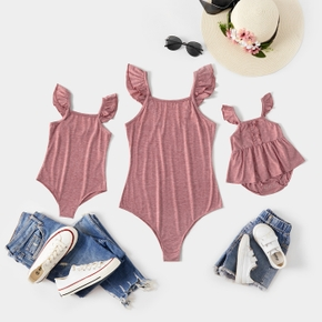 Solid Color Flutter-sleeve Matching Rompers