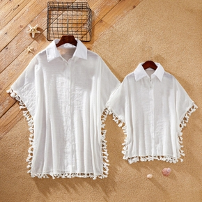 Tassel Decor Button Front White Beach Shirt Cover Up for Mom and Me