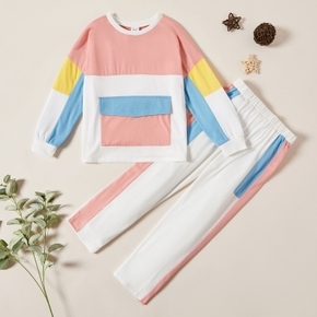 Girls Splice Sweatshirt and Elasticized Pants Set