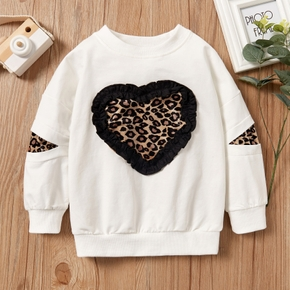 Toddler Leopard Print Splice Long-sleeve Pullover