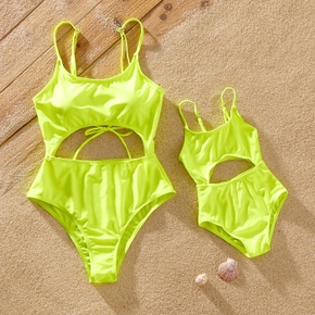 Solid Yellow One-piece Sling Swimsuits for Mommy and Me