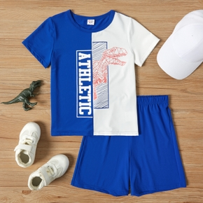 Letter Dinosaur Color Block Tee and Shorts Athleisure Set for Toddlers/Kids