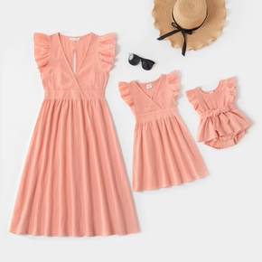 Mosaic 100% Cotton Solid Color Matching Pink Midi Dresses