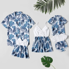 Leaves Print Family Matching Tops(Cami Tops for Mom and Girl ; Short Sleeve Front Buttons Shirts for Dad and Boy)