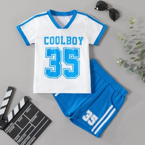 2pcs Toddler Boy Cotton Short-sleeve Shorts Suit Street style Toddler's Sets