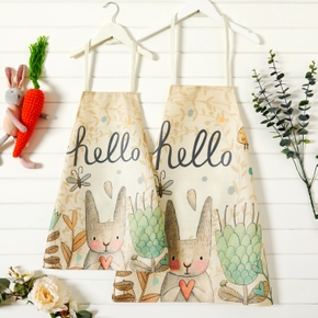 Easter Animal Rabbit Print Family Matching Aprons