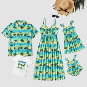 Tenues Assorties Costume Vacances Manche Courte Col Rond Type normal Lettre Floral