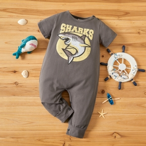 Shark Print Short-sleeve Baby Jumpsuit