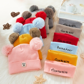 2-pack Pompon Knitted Hat and Scarf set