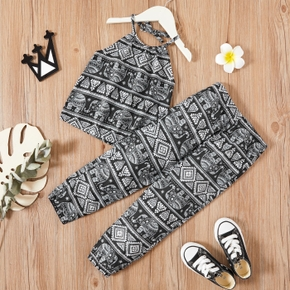 2-piece Baby / Toddler Girl Vintage Print Sling Top and Pants Set