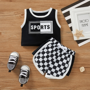 2pcs Baby Girl Sports Letter Sleeveless Cotton Baby's Sets
