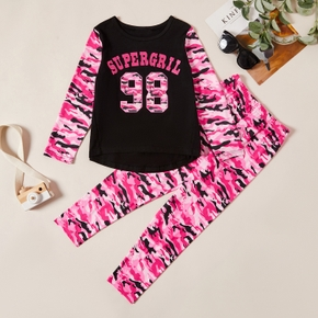 Trendy Letter Camouflage Longsleeves Tee and Pants Set