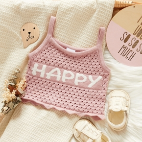 1pcs Baby Girl Sleeveless Knitted Letter Print Tops