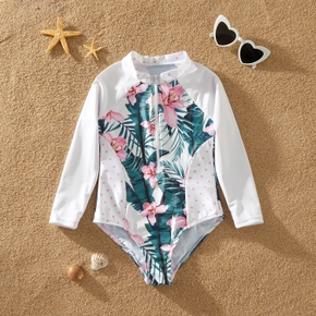 Kids Girl Floral Zipper Swimsuit