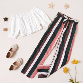 2-piece Kid Girl Off Shoulder Ruffle-sleeve White Top and Stripe Pants with Belt Set