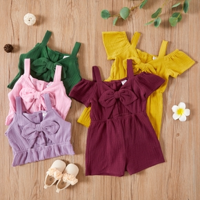 Toddler Girl 100% Cotton Multi-color Shorts Jumpsuits