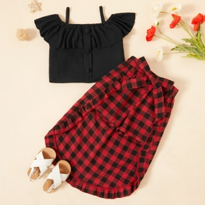 2-piece Toddler Girl Casual Camisole and Plaid Print Shorts Set