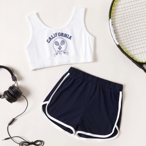2-piece Kid Girl Letter Tennis & Racket Print Sleeveless Top and Shorts Sporty Set