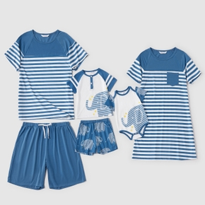 Solid and Stripe Family Matching Blue Pajamas Sets(Flame Resistant)
