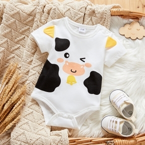 Baby Short-sleeve Cow Print Casual Romper