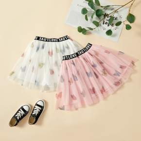 Pretty Kid Girl Letter Butterfly Elasticized Mesh Skirt