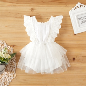 Baby Lace Flutter-sleeve Knitted Dress Romper