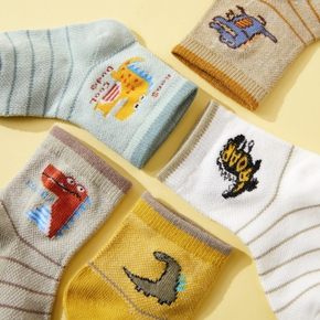 5-pack Baby / Toddler / Kid Cartoon Dinosaur Striped Middle Socks
