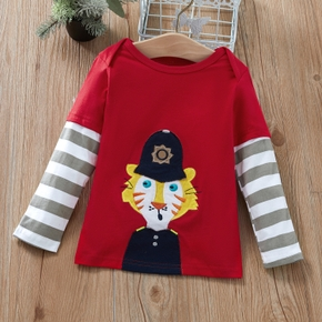 Baby / Toddler Tiger Striped Splice Long-sleeve Tee