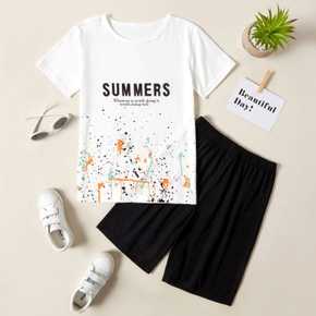 Kid Boy Letter Painted T-shirt and Solid Shorts Casual Set