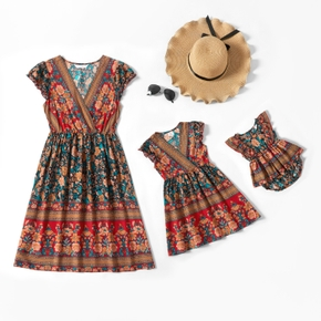 Retro Floral Sleeveless Dresses for Mommy and Me