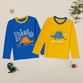 Stylish Cartoon Dinosaur Print Long-sleeve Tees