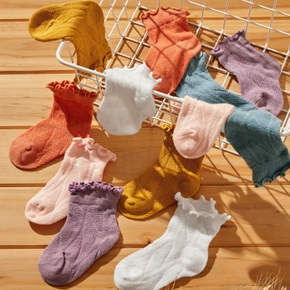 Baby / Toddler Solid Flounced Breathable Socks