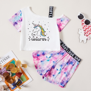 Kids Girl Unicorn Strappy Tee and Tie dye Shorts Set