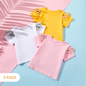 3pcs Baby Girl Solid Cotton Summer Flutter-sleeve Tee Top